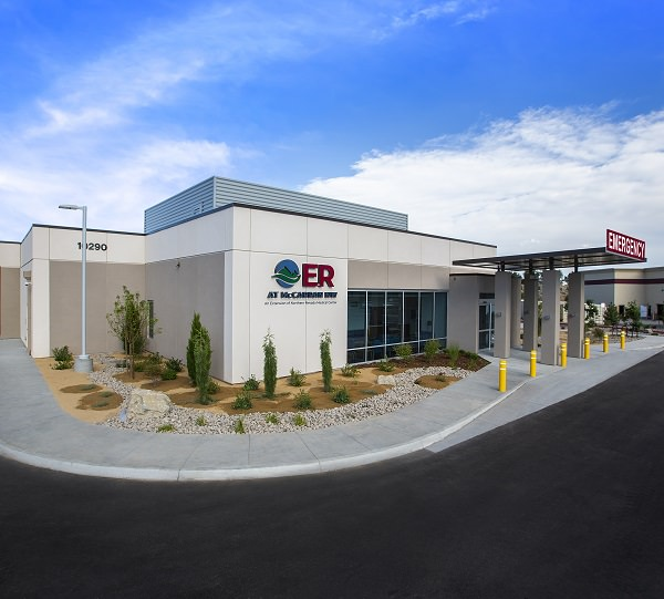 View of exterior of ER building, wide angle with blue sky